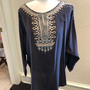 Calypso St Barth charcoal silk tunic